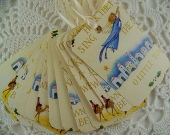 Christmas Gift Tags Upcycled Party Favor Label Angel Peace on Earth Set of 10