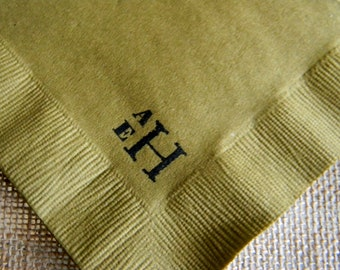 Golden Brown Personalized Wedding Cocktail Napkins with Simple  Large and Small Couples Initials - Set of 50