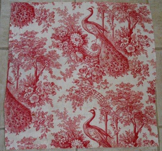 Antique french fabric linen toile de jouy peacock floral decor for French toile fabric