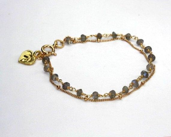 Labradorite Bracelet. Multi Strand Bracelet. Charm Bracelet. Birthstone Options. Pick a Charm.