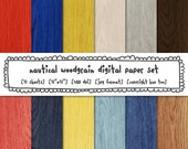 woodgrain digital paper, wood texture nautical red blue yellow gray brown, summer boys photography backgrounds, instant download - 504