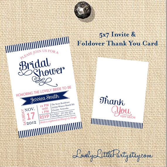 DIY Printable Swirls & Stripes Bridal Shower Invite and Thank You Card - You choose colors - Lovely Little Party