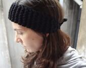 Chunky Knit Headband black hair wrap earwarmer womens teen winter ski snowboard winter fall fashion accessories