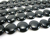 high quality Black Onyx puffy coin bead 12mm 15 inch strand