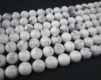 stone bead,howlite white round 12mm,15 inch strand