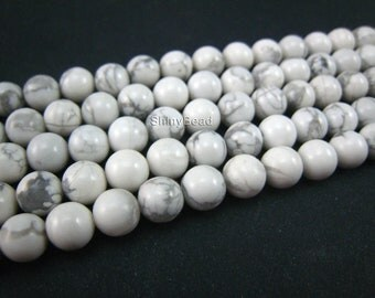 stone bead,howlite white round 6mm,15 inch strand