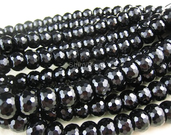 black onyx faceted rondell 14x10mm 15 inch strand
