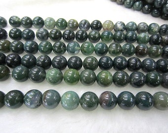moss agate round  bead 12mm 15 inch strand