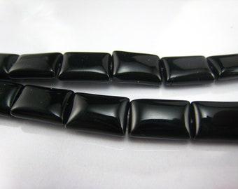 high quality Black Onyx  puffy rectangle bead 12x8mm 15 inch strand