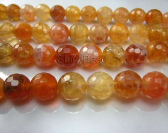cracked agate faceted round 8mm 15.5 inch strand