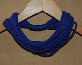 Small Upcycled T-Shirt Headband/Necklace/Scarf in Royal Blue