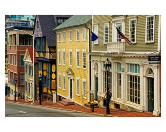 Historic Street and Buildings, Providence, Rhode Island, 11 x 14 photo print