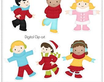 Let It Snow 2 Cliparts - Digital Clip Art , Commercial Use Clipart, Scrapbook, Printable - Instant Download
