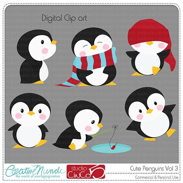 Cute Penguins Cliparts Vol 3 Digital Clip Art Commercial
