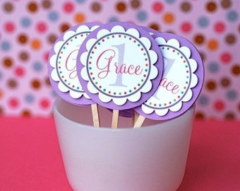 Name and Age Personalized Cupcake Toppers - Set of 12