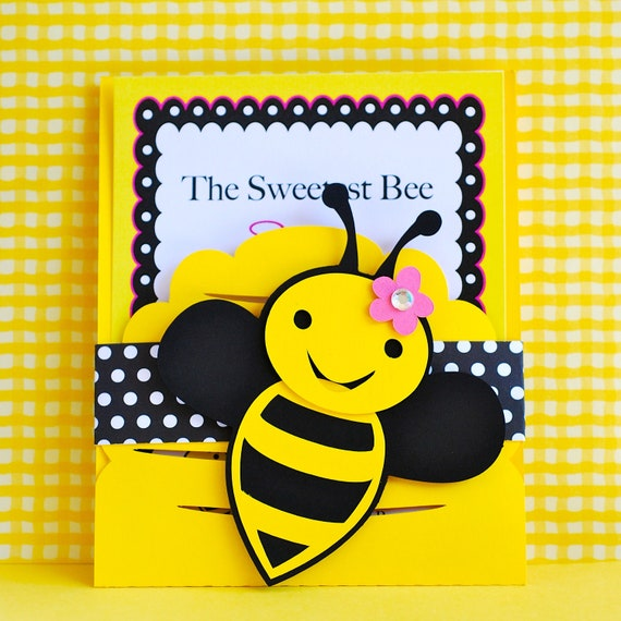 Custom bumble bee invitations by pretty paper party for Spelling bee invitation template