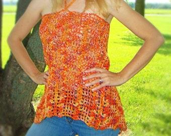 Crochet Summer Tank Top - Women Halter Style Tank - Summer Lace Shirt - Orange Tank Top - Cotton Crochet Beach Apparel Small