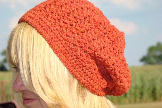 Slouch Hat Crochet Beanie Womens Recycled Yarn Reds Oranges Nylon Cotton Acrylic Silk Linen