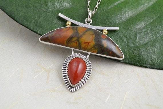 Silver Pendant with Jasper Stones