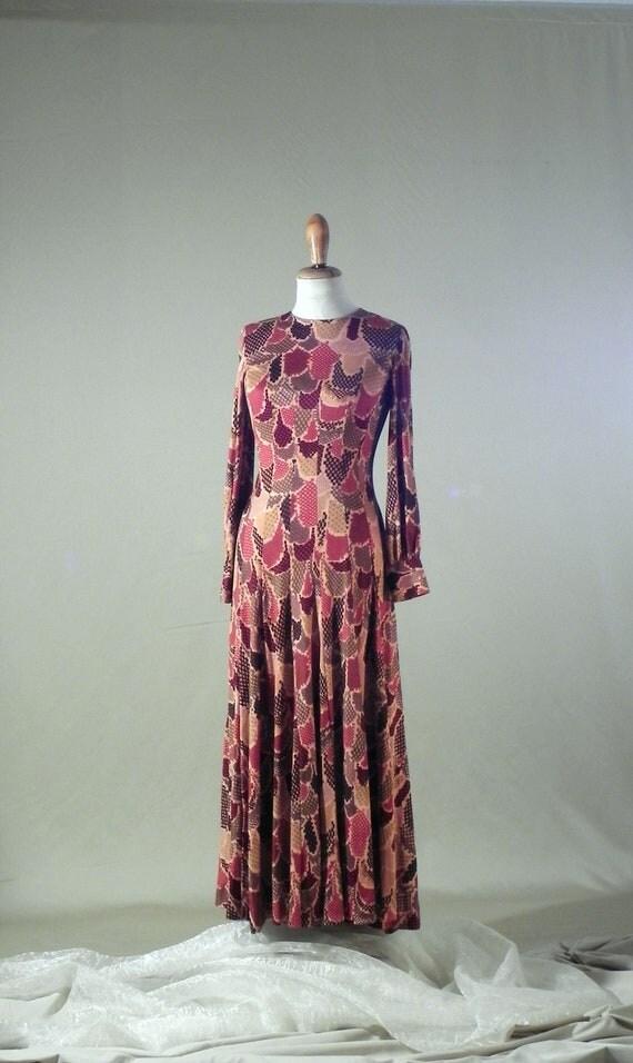 Long Dress, Jersey Fabric Dress, 70s Vintage Dress, Warm Colors Dress, Evening Party Dresses for Women, Special Occasion Dresses, Vintage