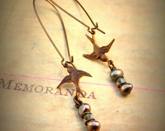 Swooping Sparrows Earrings - Vintaj Natural Brass OS