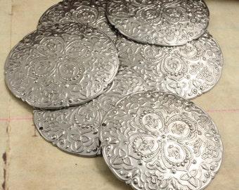 6 Pcs Silver Colored Metal Boho Style Embellishment - Vintaj OS
