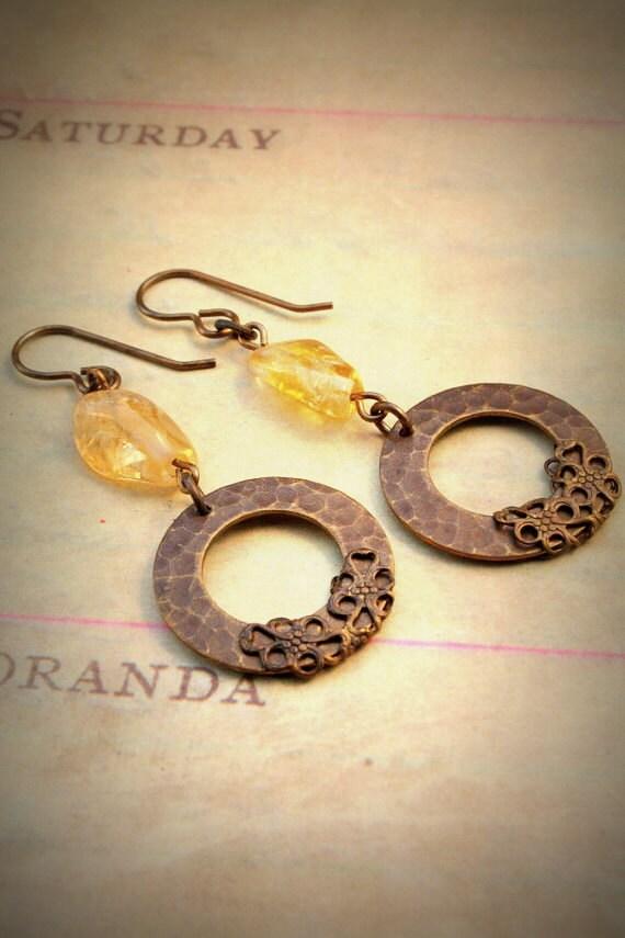 Hammered Hoop Citrine Gemstone Brass Artisan Earrings - OLD STOCK