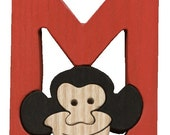 Montessori wooden puzzle letter M(onkey), made by hand of maple wood,no harmful colors and no lacquer - Ludimondo