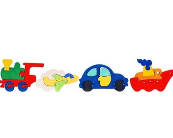 Packege of 4 pieces-Montessori-Waldorf maple wood puzzles- Vehicles