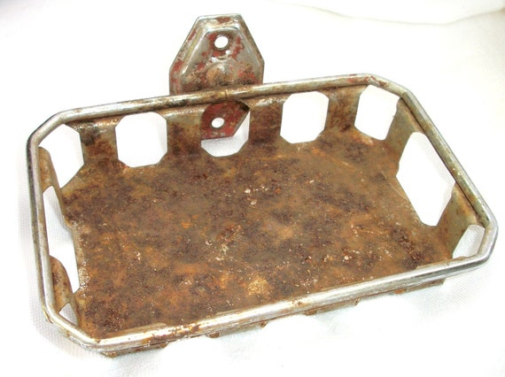 Vintage Farm - Green House Old Soap Dish - Holder - Rust -Red Paint  - Primitive - Cottage