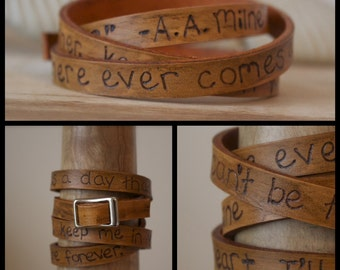 Leather Wrap Quote Bracelet - Winnie the Pooh - A.A. Milne - Mothers Day - Choose your own quote - Adjustable - Brown