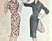 Vintage 1950s ADVANCE Pattern 9010-Ladies Shirt Dress One Piece Slimming fit-Size 20