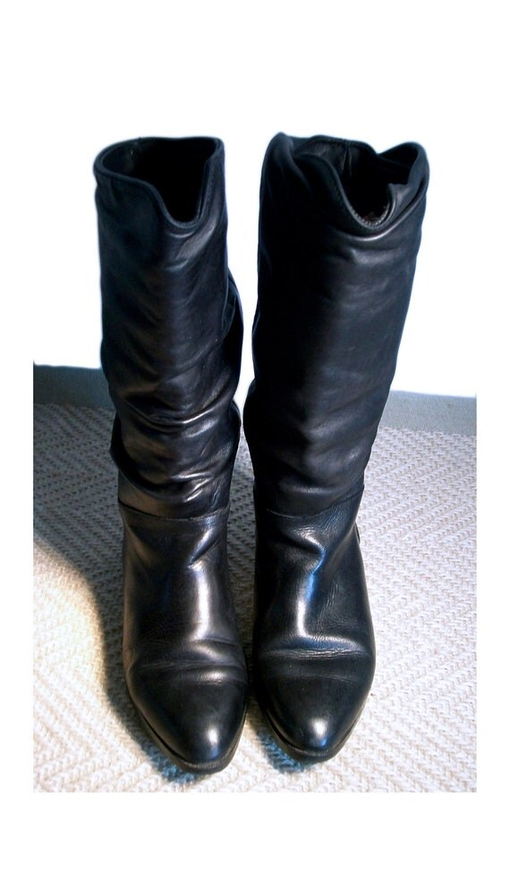 boots black leather slouch santana canada size 8 by