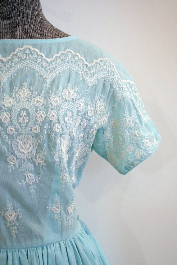 Vintage Blue 1950s Cotton Dress / Embroidered Party Dress