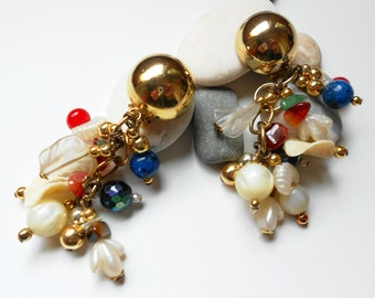 Vintage earrings, long danglers, semi precious stone, Mother of Pearl, Lapis, Carnelian Tassle Earrings