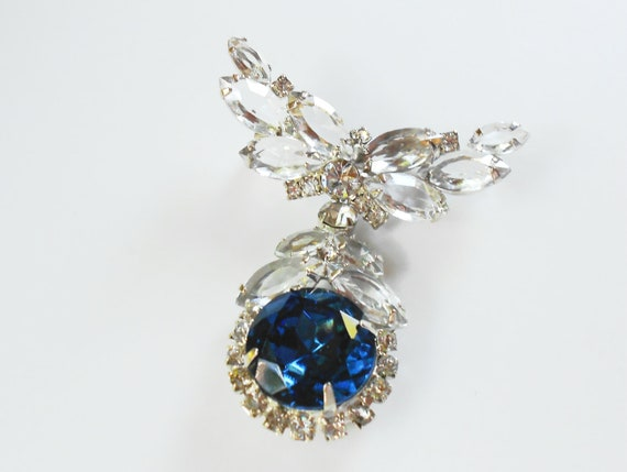 Vintage Juliana brooch w/ deep blue stone, chatelaine pendant necklace, bridal jewelry