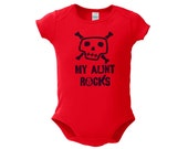 My Aunt Rocks Infant One Piece (Black Ink) New Baby Gift