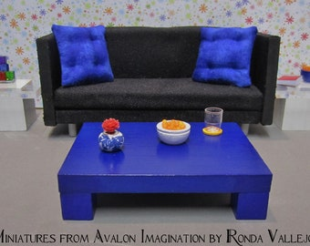 1:12 scale Modern Dollhouse Coffee Table in Cobalt Blue - Shop by Color Decorating in Miniature