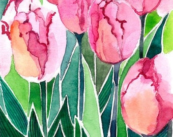 ACEO Limited Edition - Pink tulips, in watercolor