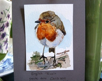 ACEO Limited Edition - English robin, in watercolor