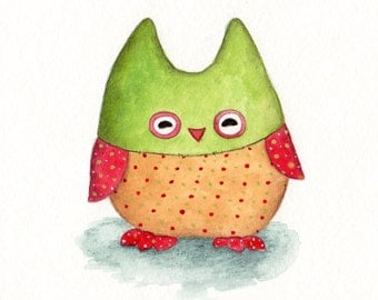 Nursery Art, Toy Owl, print from an original watercolor illustration
