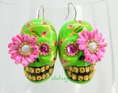Skull new shape the day of the dead skull earrings two pairs