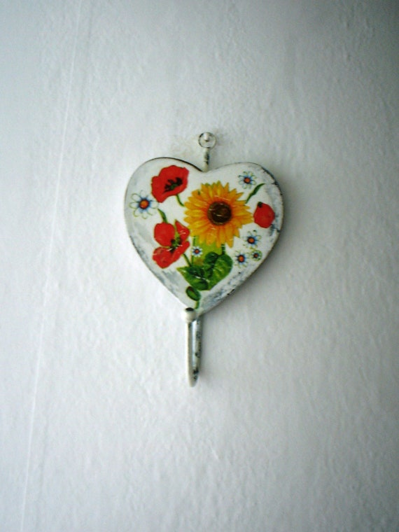 Rustic Home Decor, Wood Hanger, Sunflower, Poppies and Daisies, Decoupage, Vintage Look, Rustic Style, Wedding Gift
