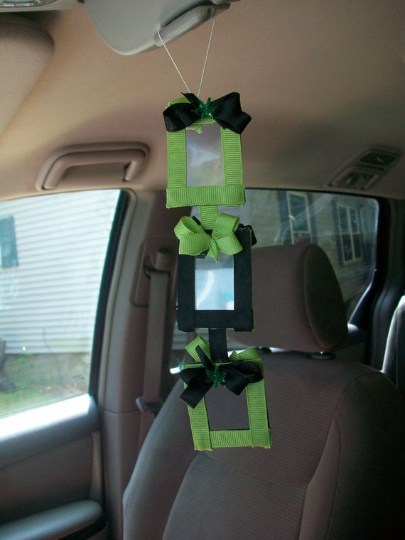Car rearview mirror picture frame mini with apple green and black shimmering beads and sparkle stretch elastic