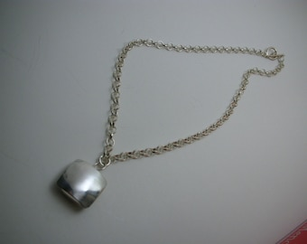 Square Sterling Silver Bead Pendant