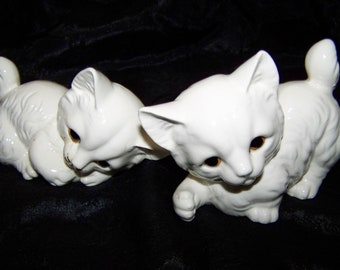 Vintage White Kittens Hand Painted Kittens White Cats Kitten Figurines