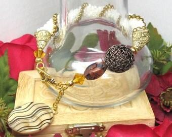 Crochet Bracelet, Womens Bracelet, Beaded Bracelet with Amber Lentil Shell