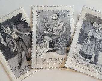 8 Dia De Los Muertos Folklorico Fabric Squares FUN Halloween/Birthday Invites Gift Tag or Scrapbooking Embellishment Try to Collect Them All