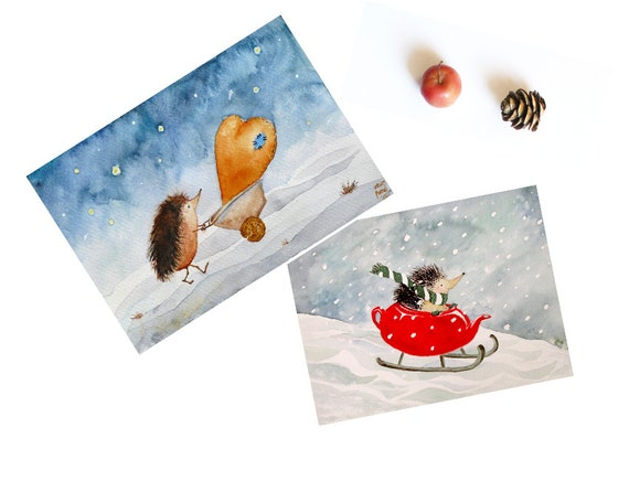 Set of Hedgehogs Reserved for Rooshdyia Nursery Art Prints 4 x 5.7