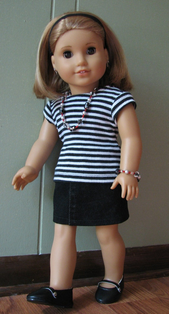 "American Girl Doll Clothes / 18"" Doll Black/White Striped Knit Top with Black Skirt and matching Jewelry"